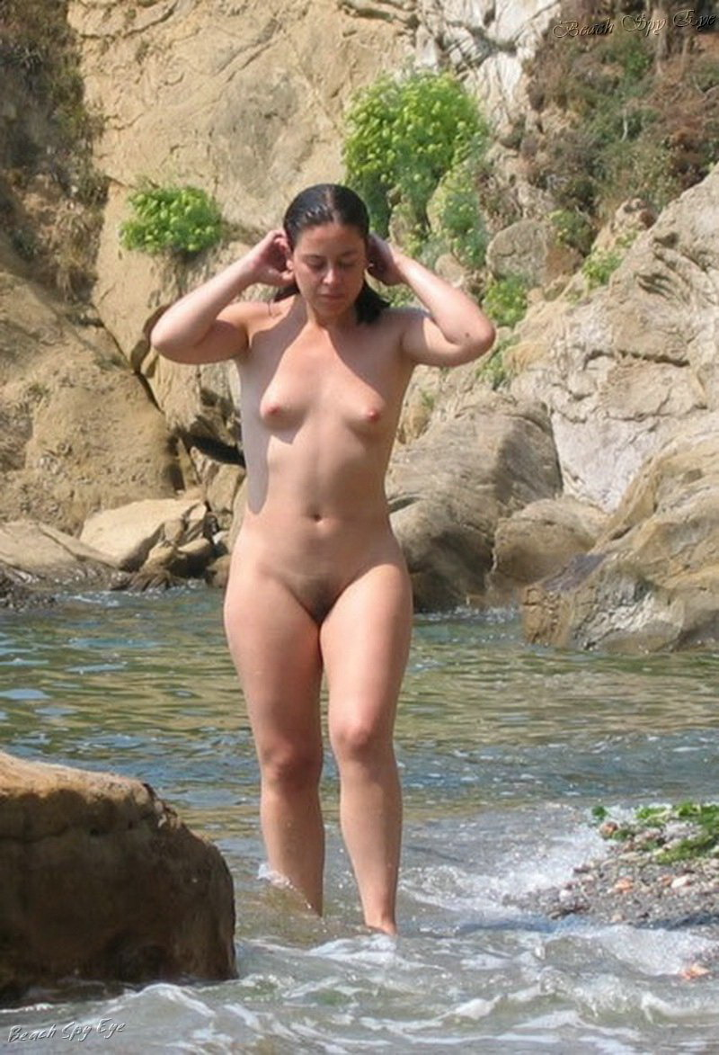 The on girl beach standing nude